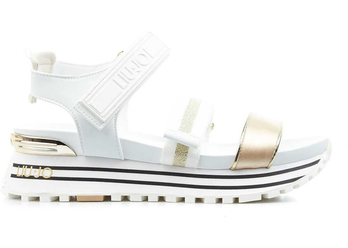 "Liu Jo Sandals ""Maxi Wonder"" White imagine b-mall.ro"