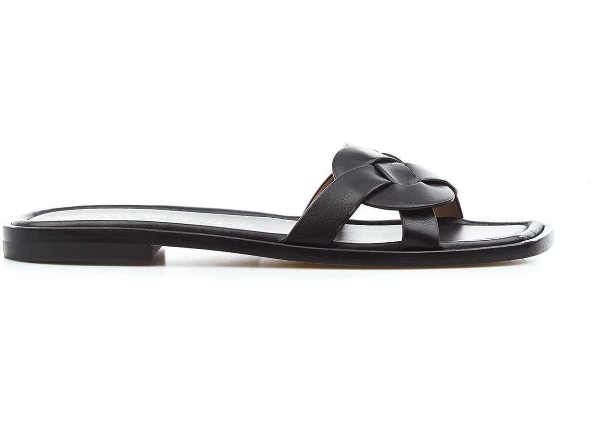 """Stuart Weitzman Flat sandals """"Sierra"""" Black imagine b-mall.ro"""