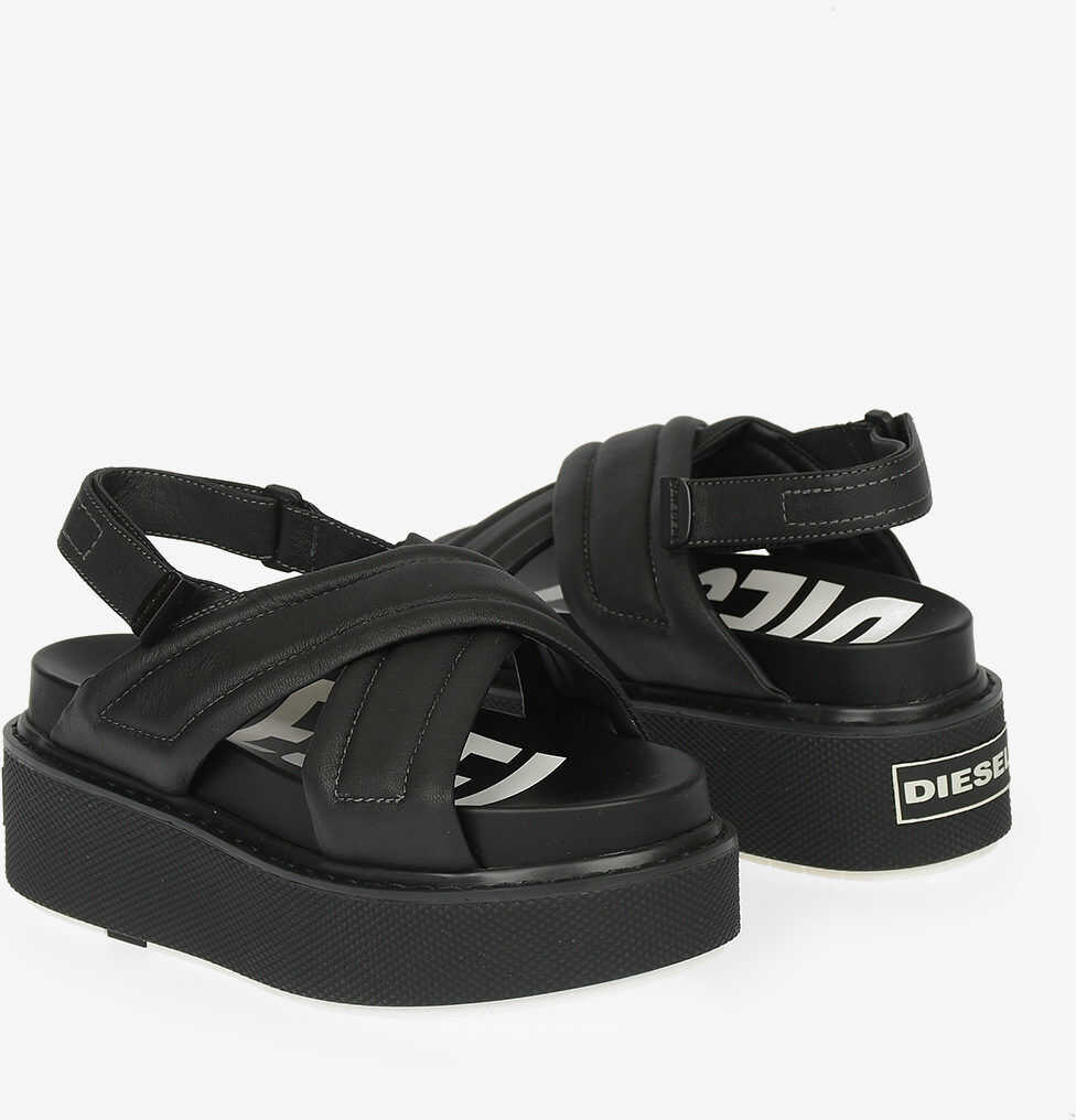 Diesel 5cm Leather SA-SCIROCCO XR Sandal with Wedge BLACK imagine b-mall.ro