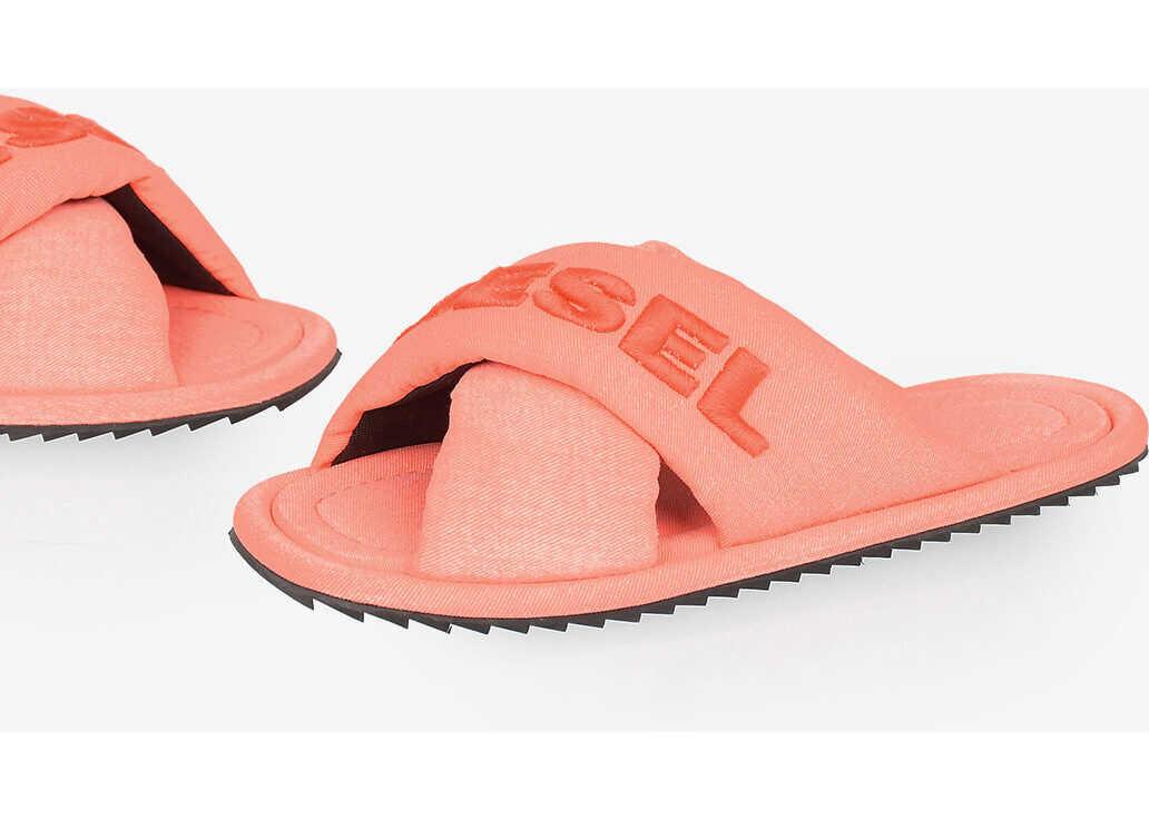Diesel Fabric Fluo SA-MERY X Sandal ORANGE imagine b-mall.ro