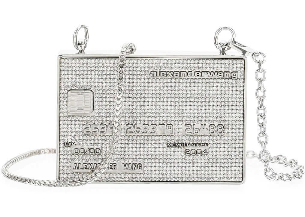 Alexander Wang Wangloc Minaudiere Microbag Micro Crystals 20121N15M METALLIC SILVER imagine b-mall.ro