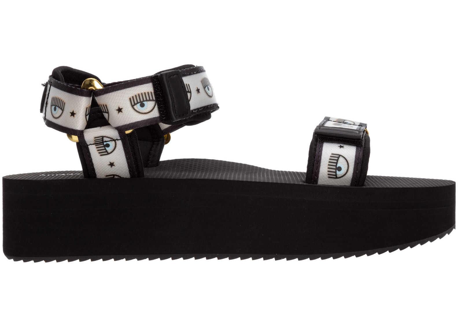 Chiara Ferragni Sandals Logomania CF2810-001 Black imagine b-mall.ro
