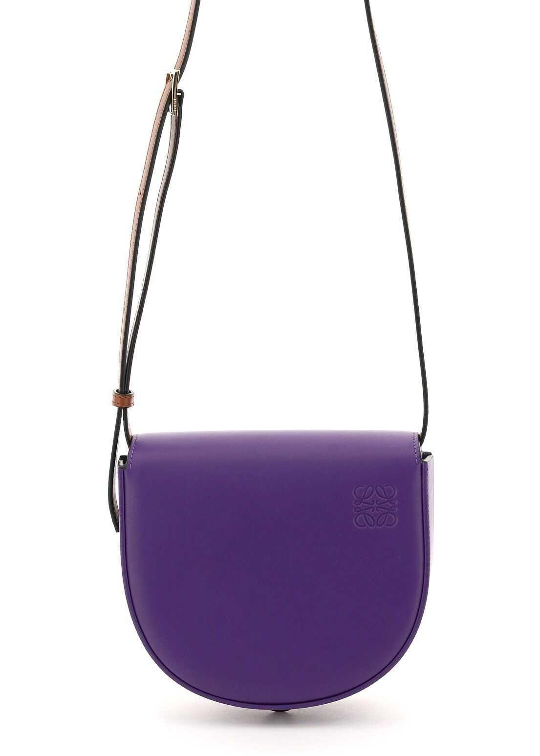 Loewe Heel Duo Mini Shoulder Bag A894A01X02 PURPLE COGNAC imagine b-mall.ro