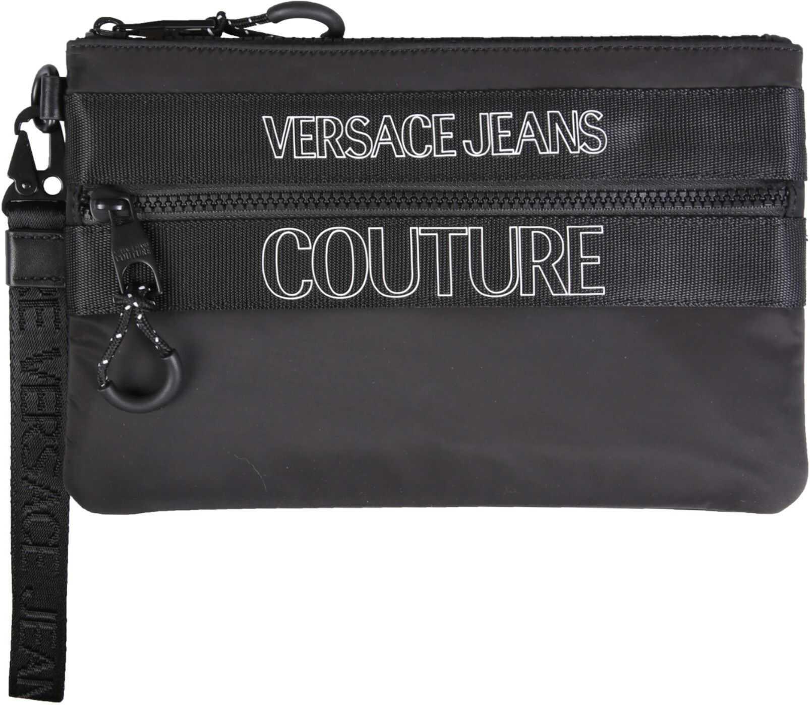 Versace Jeans Couture Nylon Pouch With Logo E3YWAPA2_71895899 BLACK imagine b-mall.ro