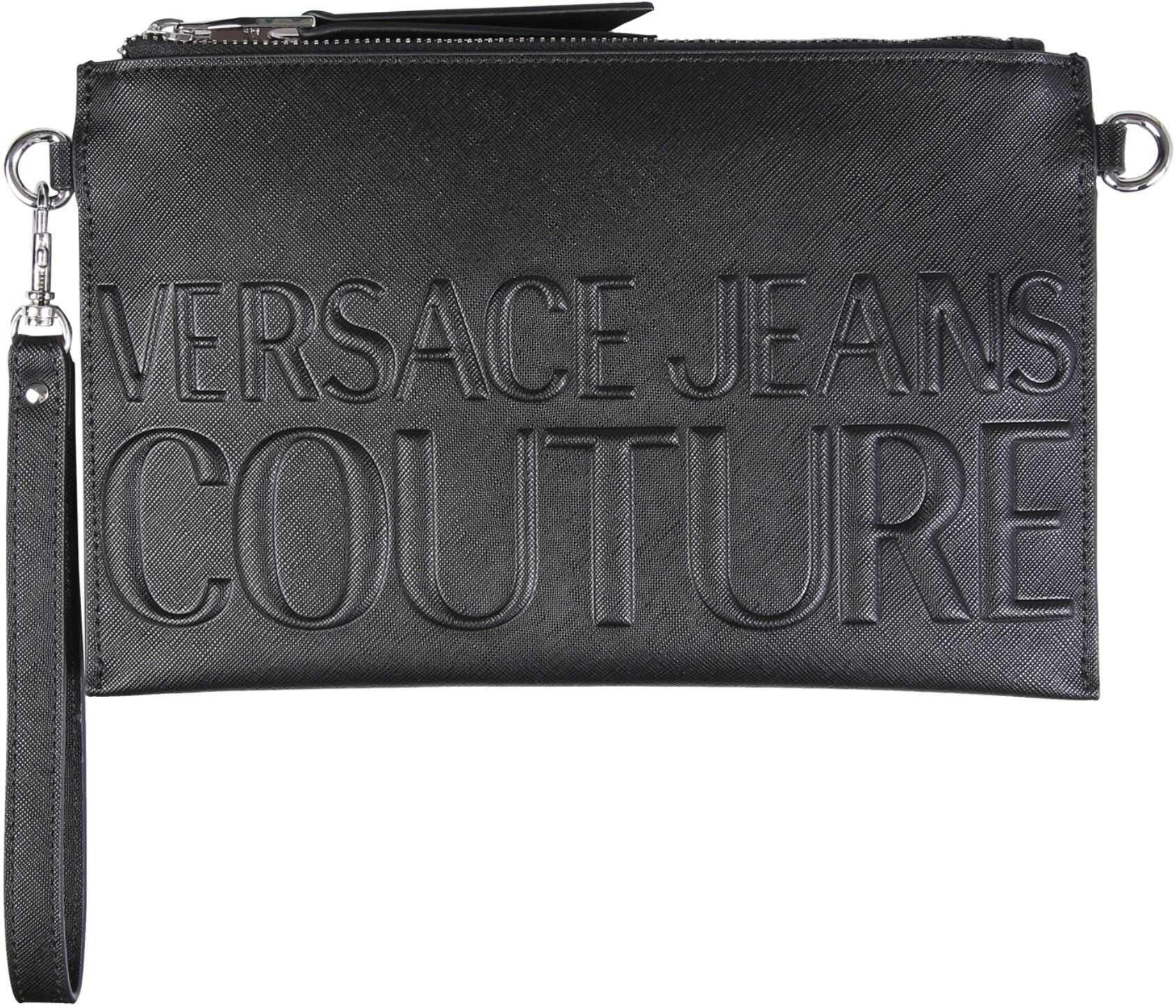 Versace Jeans Couture Clutch With Embossed Logo E1VWABRX_71882899 BLACK imagine b-mall.ro