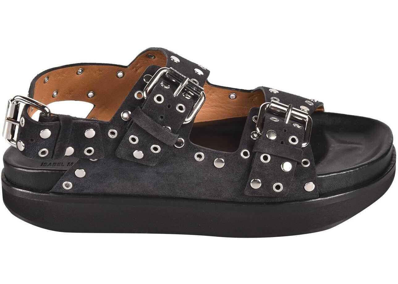 Isabel Marant Ophie Sandals In Faded Black SD075121E013SFADEDBLACK Black imagine b-mall.ro