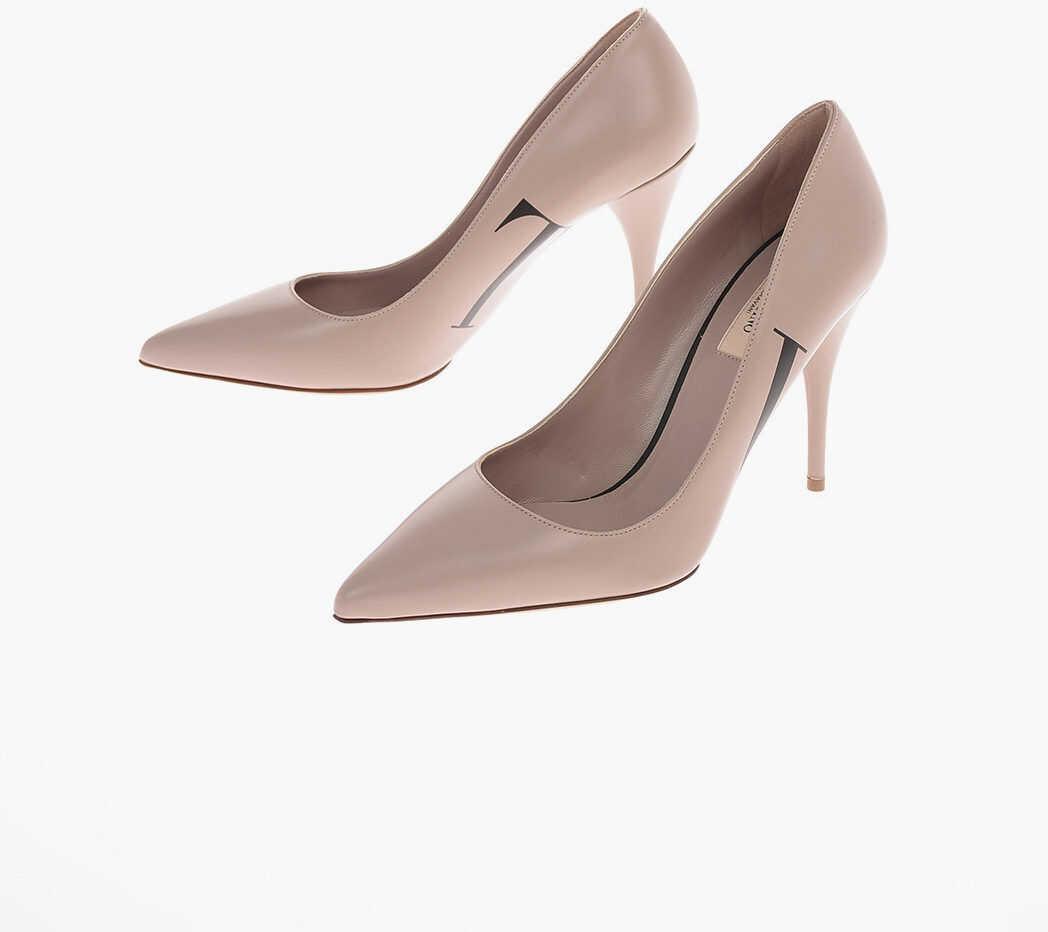 Valentino Garavani GARAVANI VLNT 10cm leather Stiletto Heel Pumps BEIGE imagine b-mall.ro