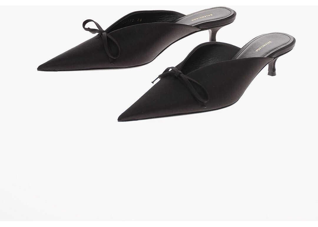 Balenciaga 5cm satin Point Toe Mules BLACK imagine b-mall.ro