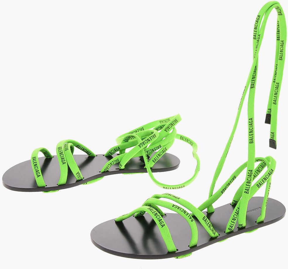 Balenciaga Logo Lace-up sandals GREEN imagine b-mall.ro