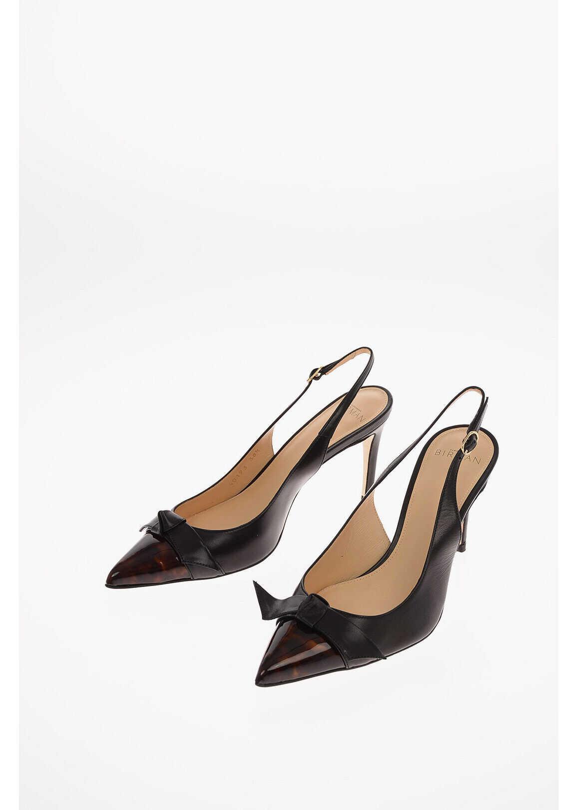 Alexandre Birman 10cm leather PAULA Point Toe Slingback pumps BLACK imagine b-mall.ro