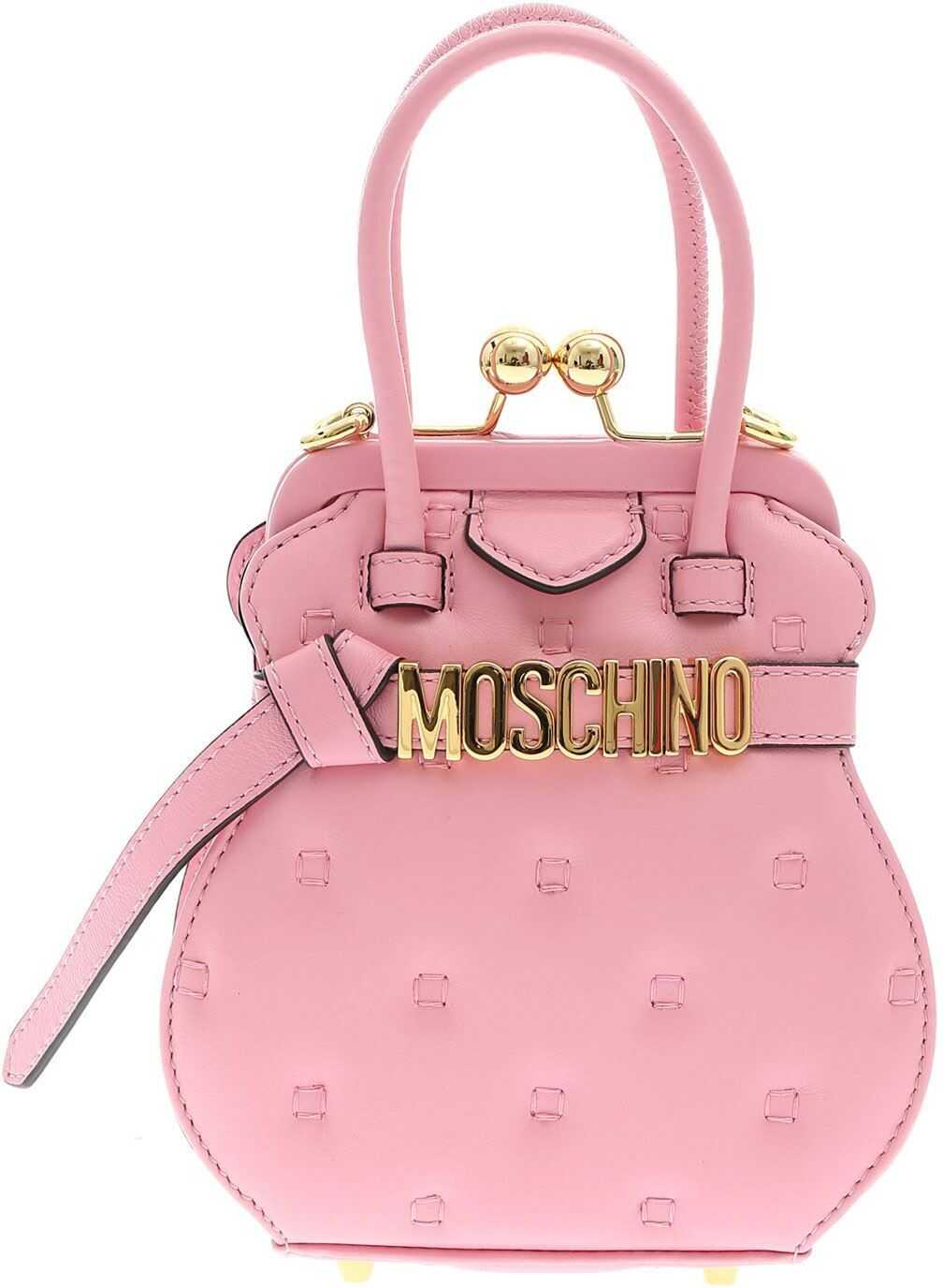 Moschino Inside Out Quilting Handbag In Pink 753280021222 Pink imagine b-mall.ro