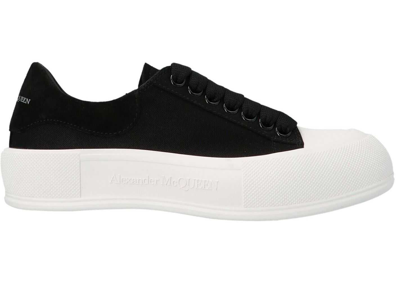 Alexander McQueen Oversole Sneakers In Black And White 654593W4PQ11070 Black imagine b-mall.ro