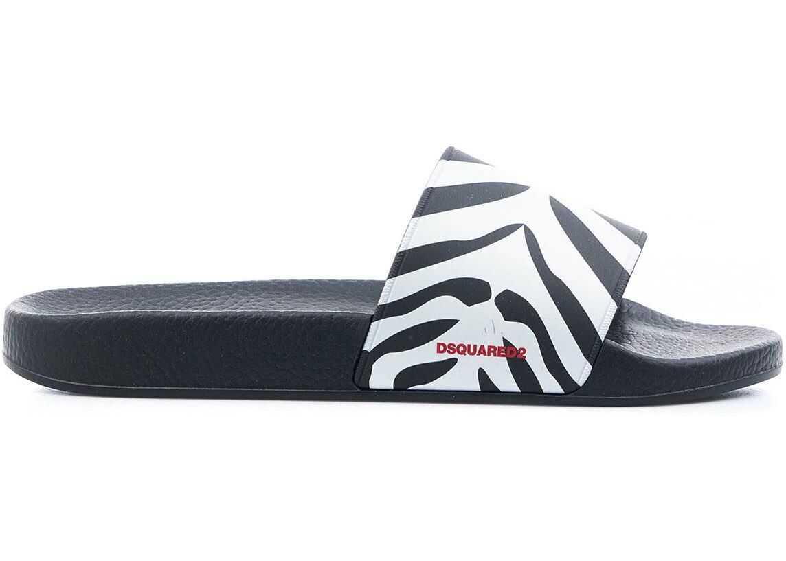 """DSQUARED2 Slides """"Sporty Zebra"""" Black imagine b-mall.ro"""