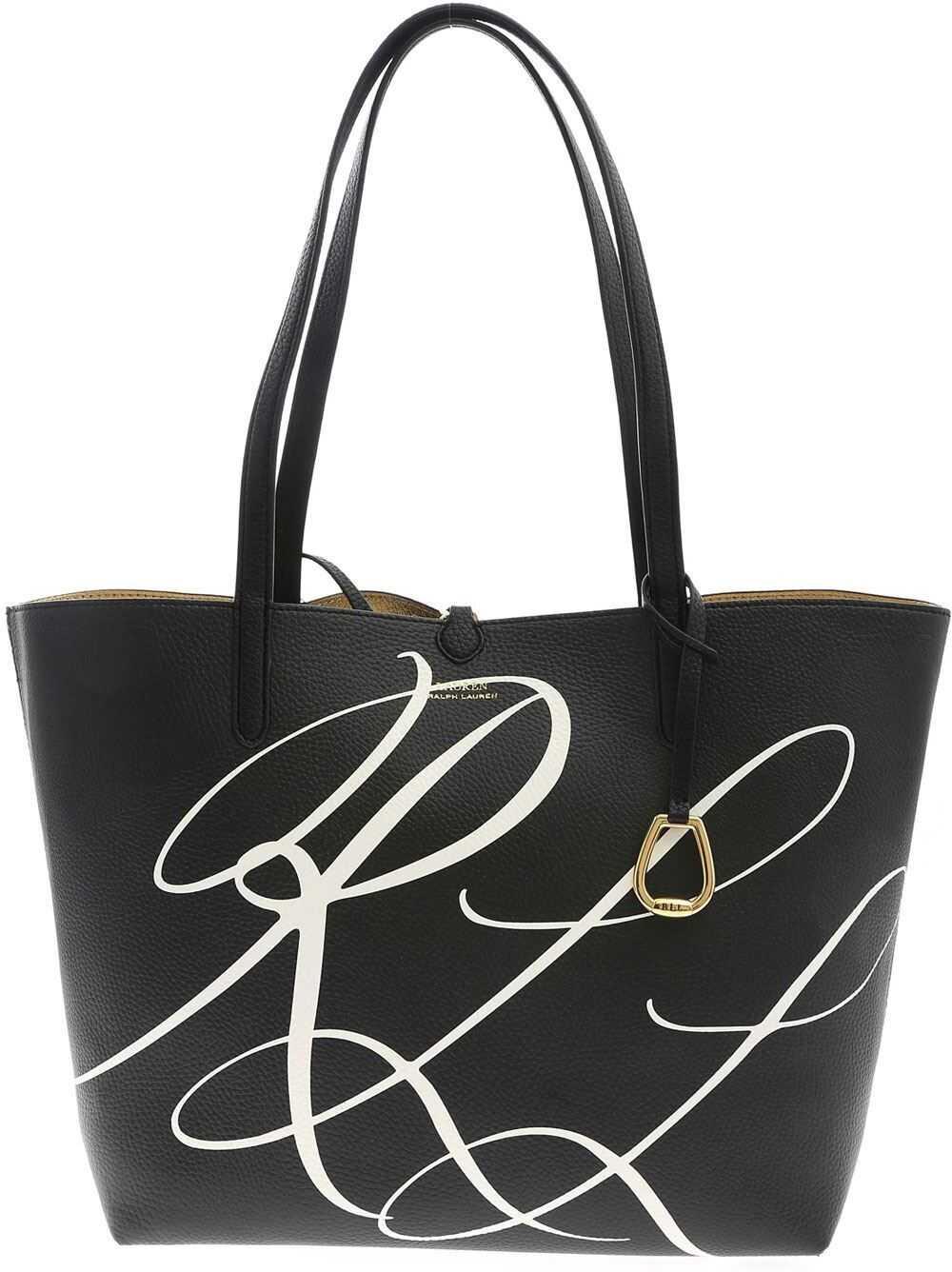 Ralph Lauren Reversible Tote Bag In Black And Gold Color 431795329022 Black imagine b-mall.ro