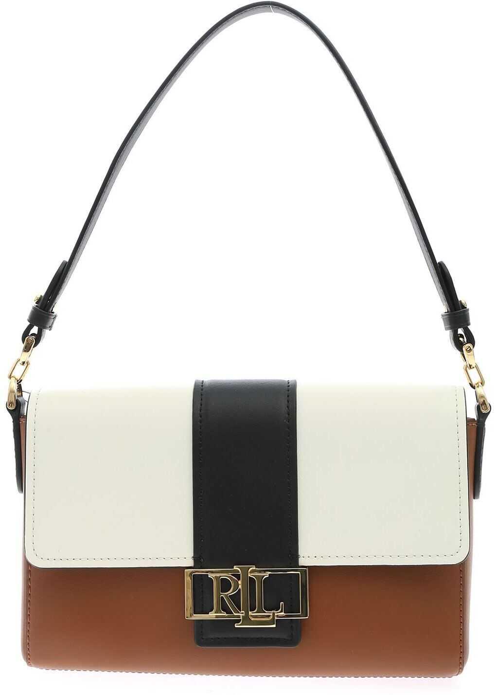 Ralph Lauren Spencer Bag In Black White And Brown 431826060002 White imagine b-mall.ro