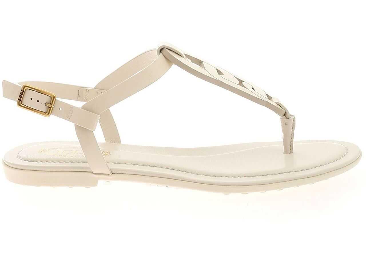 TOD'S Buckle Sandals In White XXW0OV0EM20OW0C016 White imagine b-mall.ro