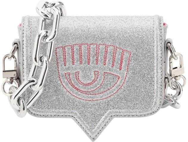 Chiara Ferragni Eyelike Mini Glitter Bag CFPT015 SILVER imagine b-mall.ro