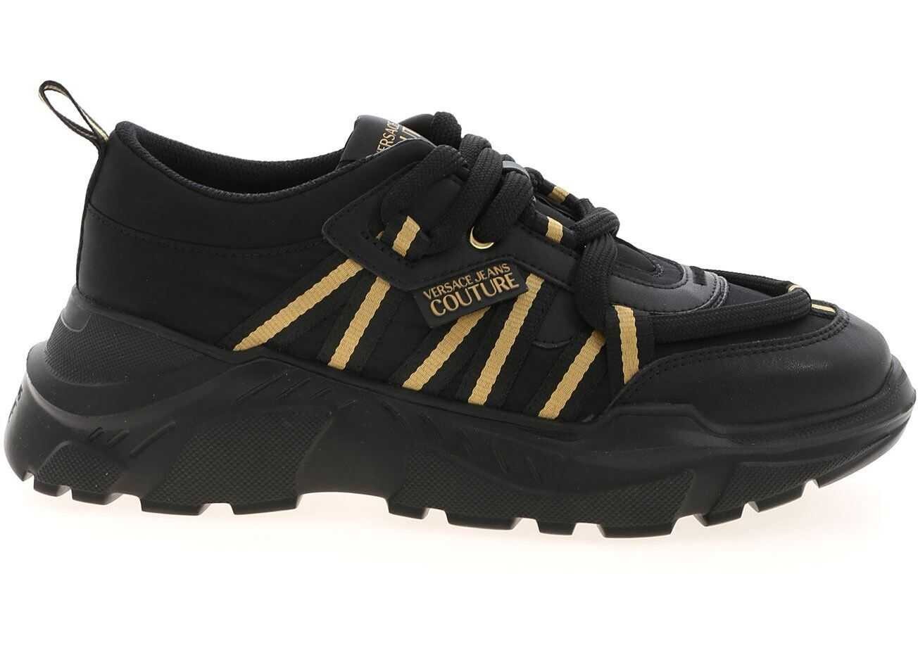 Versace Jeans Couture Golden Grosgrain Sneakers In Black E0YWASC371969899 Black imagine b-mall.ro