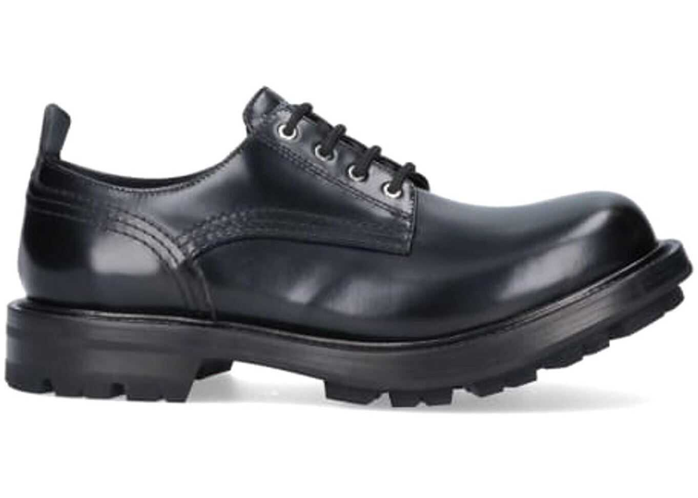 Alexander McQueen Leather Lace-Ups In Black 652663WHZ801000 Black imagine b-mall.ro