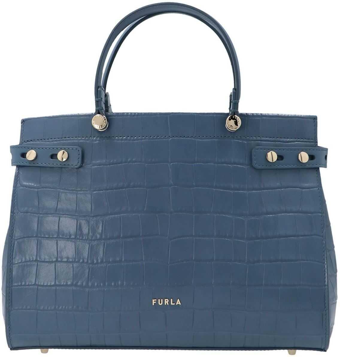 Furla Lady M M Bag In Blu Denim Color BAWCO1LKO000DE000 Blue imagine b-mall.ro