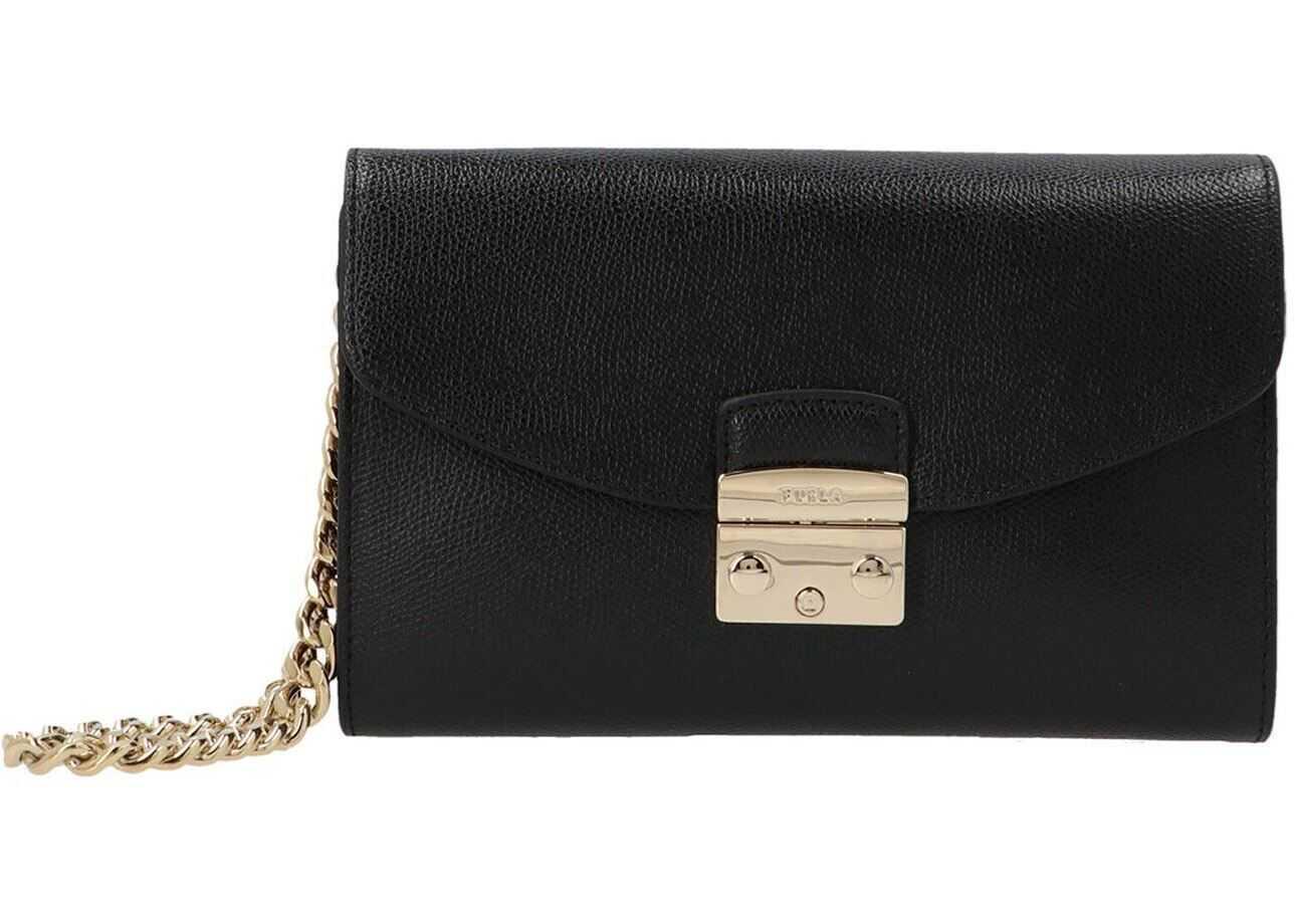 Furla Metropolis Clutch Bag In Black WE00120ARE000O6000 Black imagine b-mall.ro