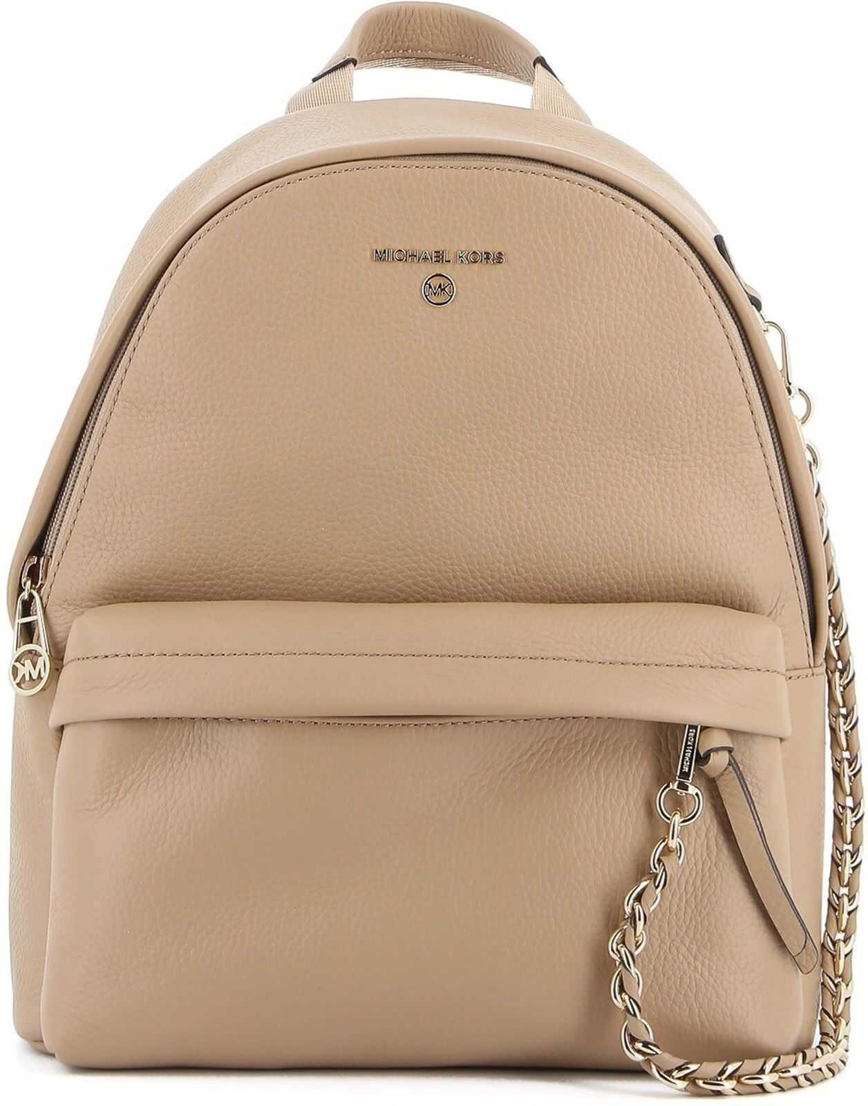 Michael Kors Slater Backpack In Camel Color 30T0L04B1L222 Beige imagine b-mall.ro