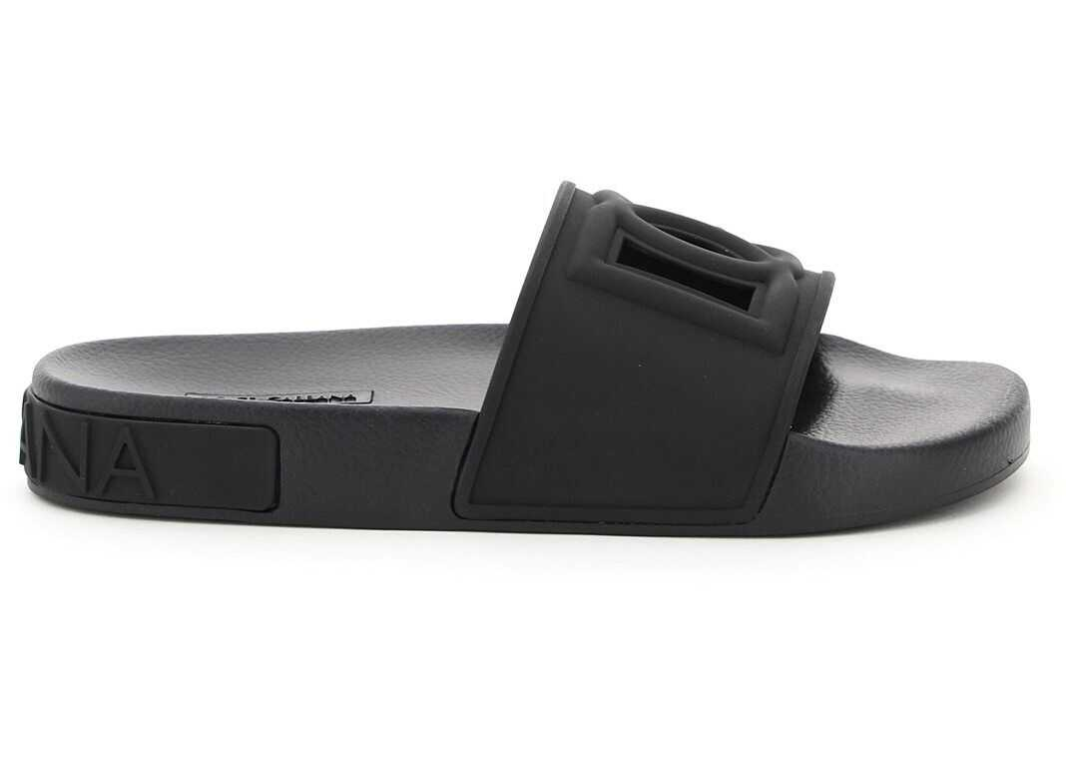 Dolce & Gabbana Barth Slides Dg Millennials CW0143 AO666 NERO NERO imagine b-mall.ro