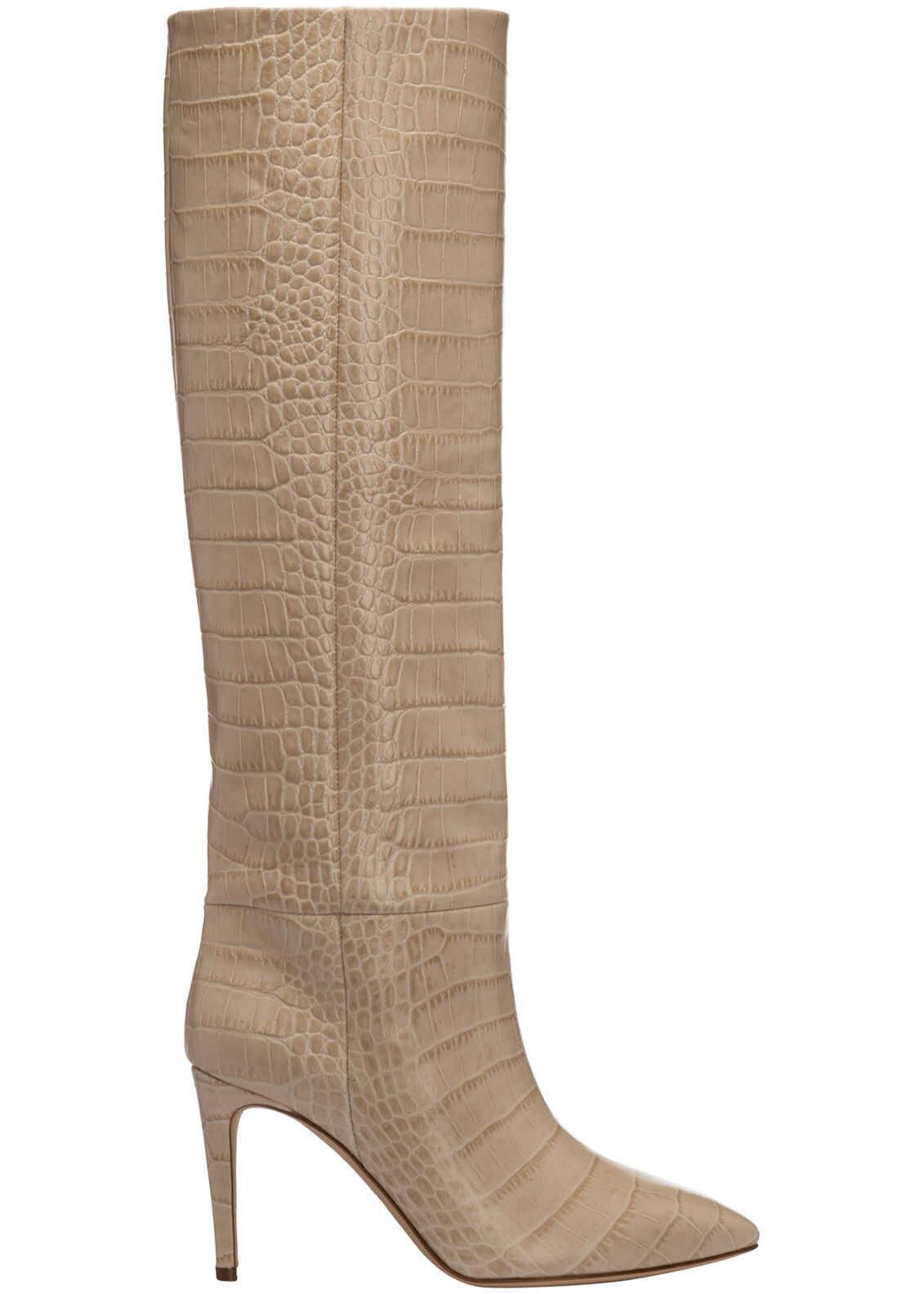 Paris Texas Heel Boots PX548 Beige imagine b-mall.ro