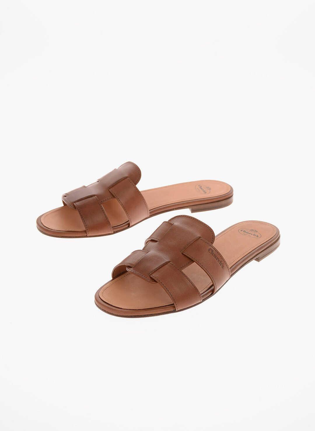Church's leather DEE DEE Slippers BROWN imagine b-mall.ro