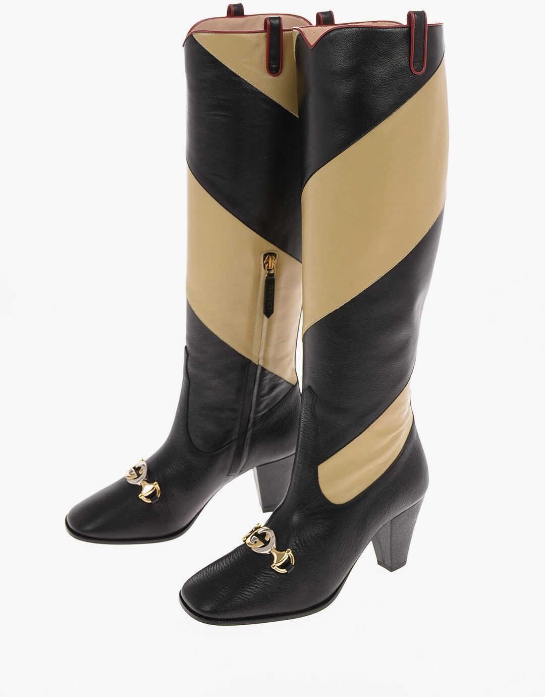 Gucci 7.5 cm leather two tones Boots BLACK imagine b-mall.ro