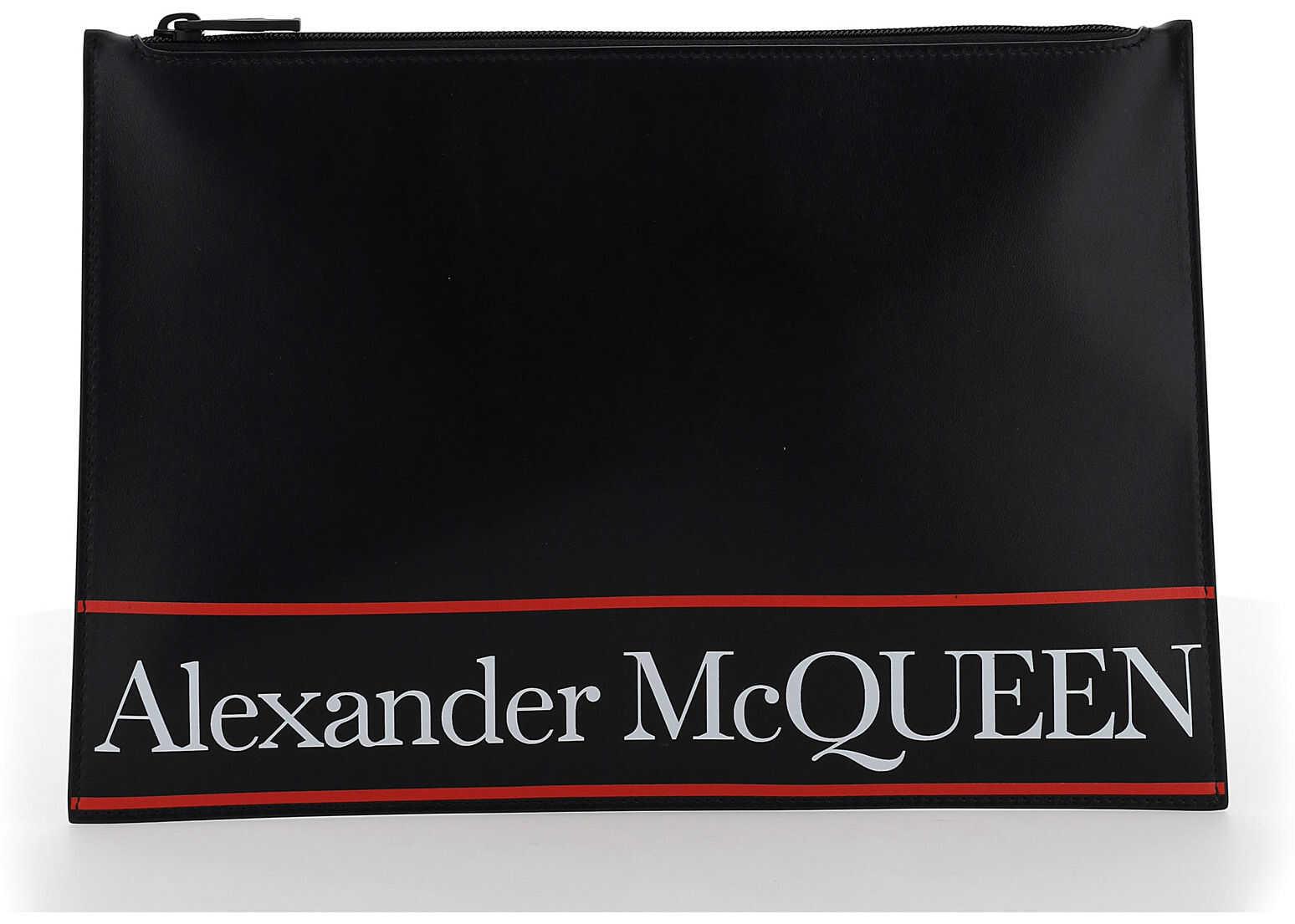 Alexander McQueen Pouch 5604721SJ6B BLACK/RED imagine b-mall.ro