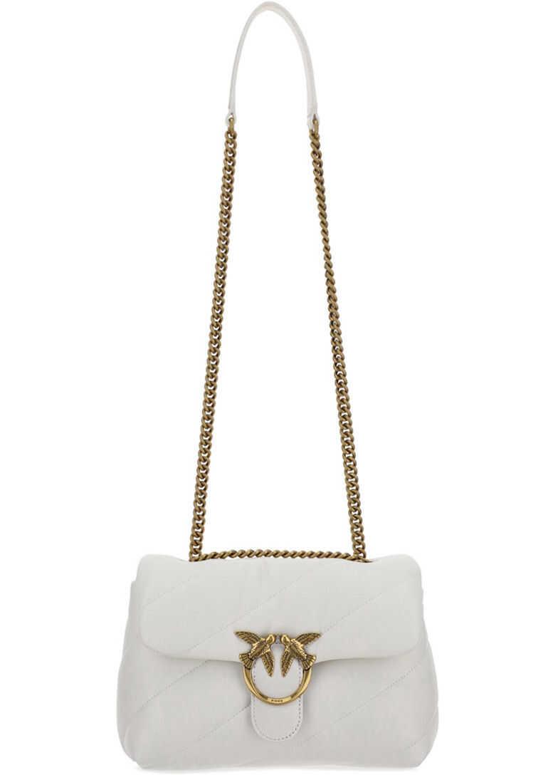 Pinko Love Classic Maxi Shoulder Bag 1P227JY6Y3 OFF WHITE imagine b-mall.ro
