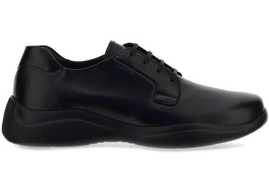 Prada Lace Up Shoes 4E3447B4L BLACK imagine b-mall.ro