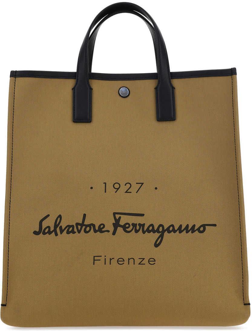 Salvatore Ferragamo Tornabuon Tote Bag 741902 CAMEL imagine b-mall.ro