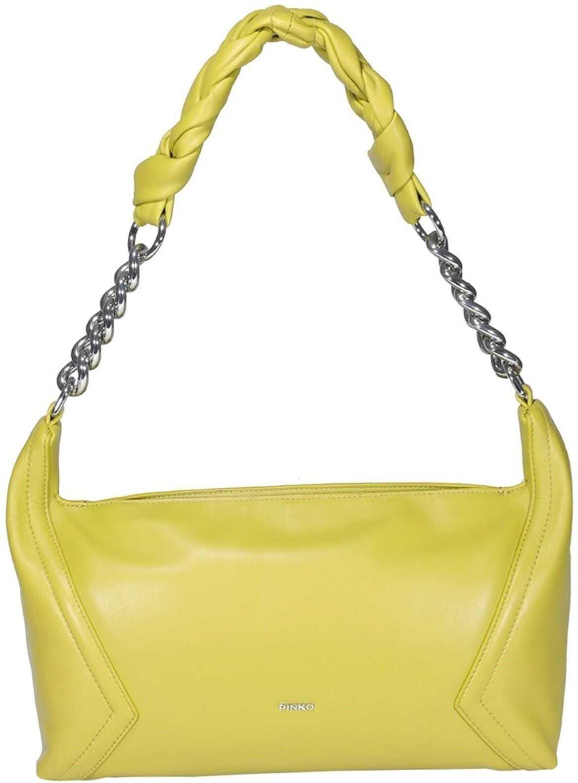 Pinko Medium Hobo Bag In Yellow 1P2235Y6Y7T56 Yellow imagine b-mall.ro
