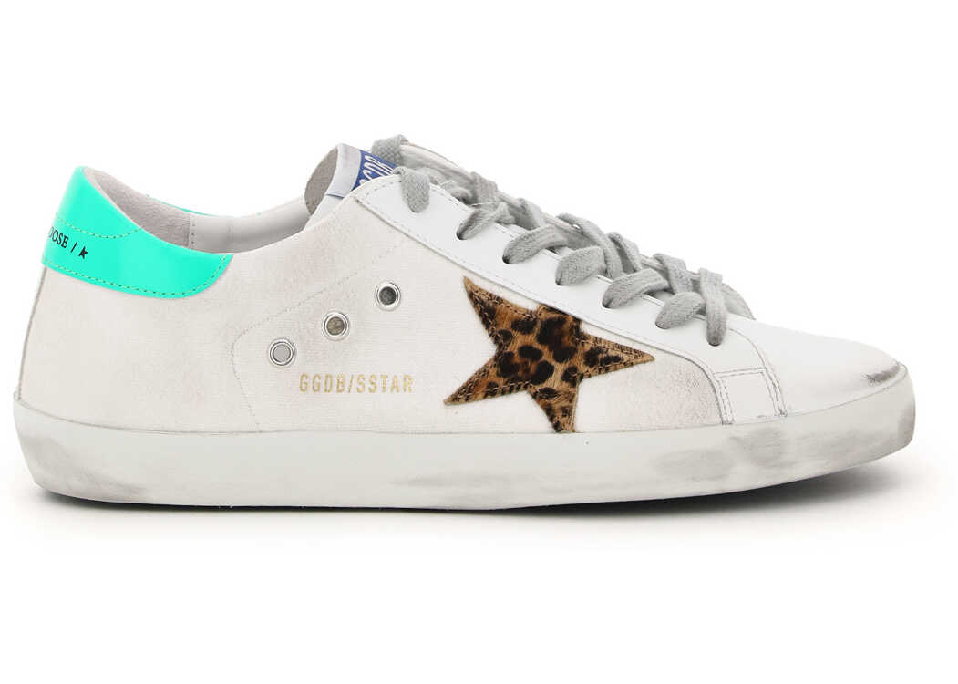 Golden Goose Super-Star Classic Sneakers In Leather And Canvas GMF00101 F001235 WHITE BROWN LEO NEON GREEN imagine b-mall.ro