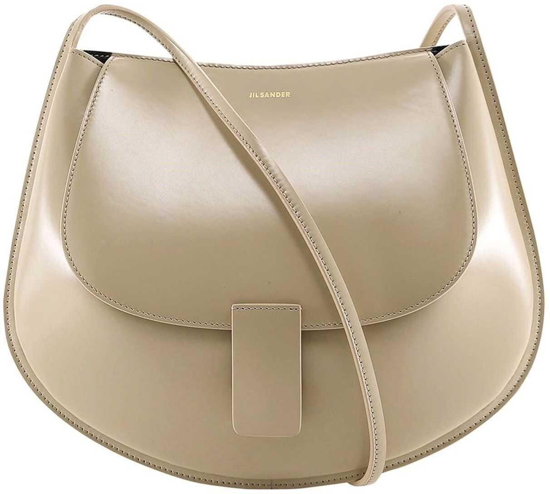 Jil Sander Smooth Leather Shoulder Bag In Beige JSPS853402WSB69148N253 Beige imagine b-mall.ro