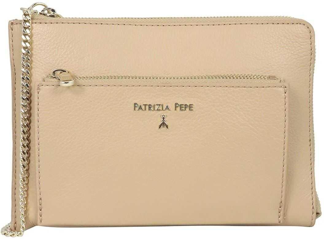 Patrizia Pepe Logo Clutch With Two Zip Pockets In Beige 2VA208A4U8NB685 Beige imagine b-mall.ro