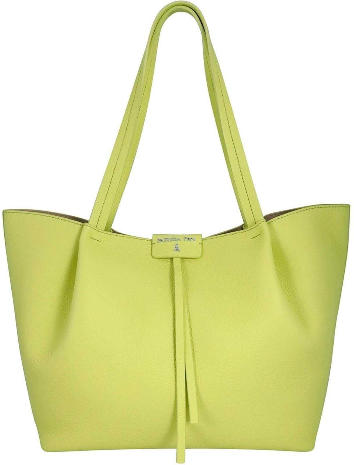 Patrizia Pepe Pepe City Large Leather Tote Bag In Yellow 2V8895A4U8NY397 Yellow imagine b-mall.ro