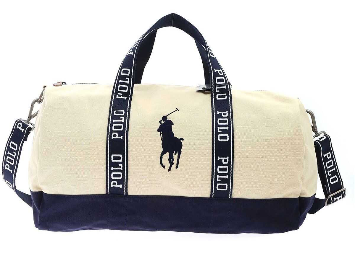 Ralph Lauren Travel Bag In Beige And Blue 405809327002 Beige imagine b-mall.ro