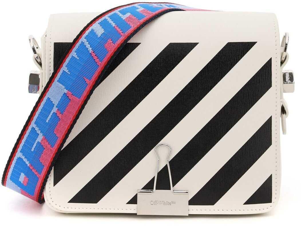 Off-White Diag Flap Binder Clip Shoulder Bag OWNN018S21LEA001 WHITE BLACK imagine b-mall.ro