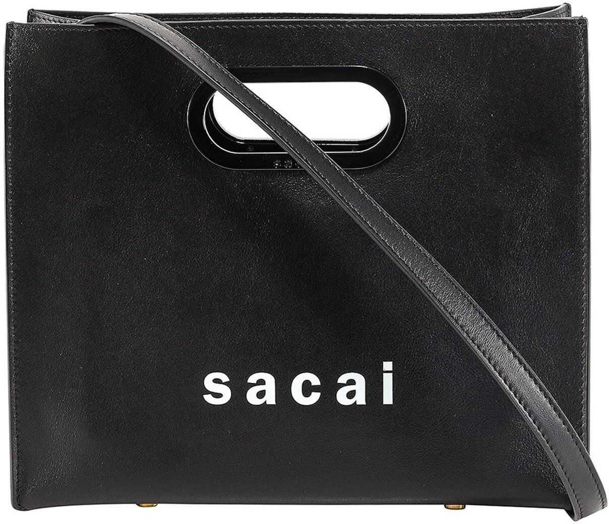 Sacai Small Compact Tote Bag In Black S06601001 Black imagine b-mall.ro