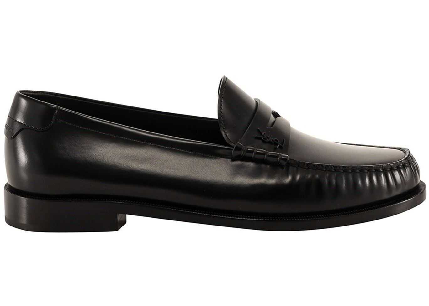 Saint Laurent Brushed Leather Loafers In Black 6304741VUVV1000 Black imagine b-mall.ro