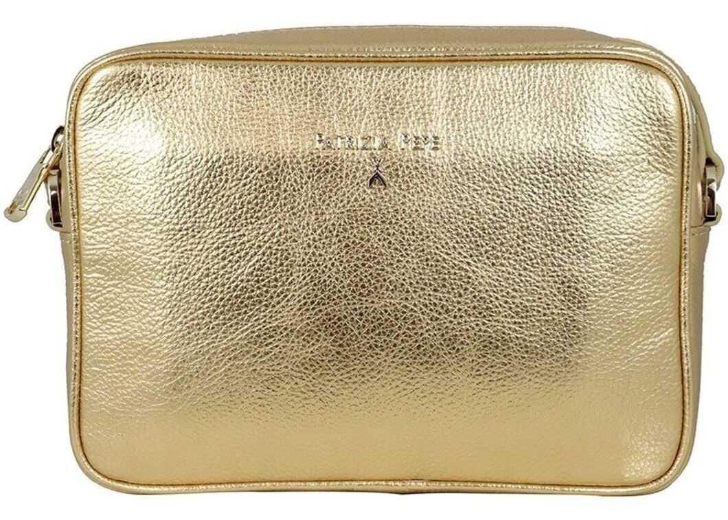 Patrizia Pepe Laminated Leather Bag In Golden Color 2V8985A4U8NY360 Gold imagine b-mall.ro