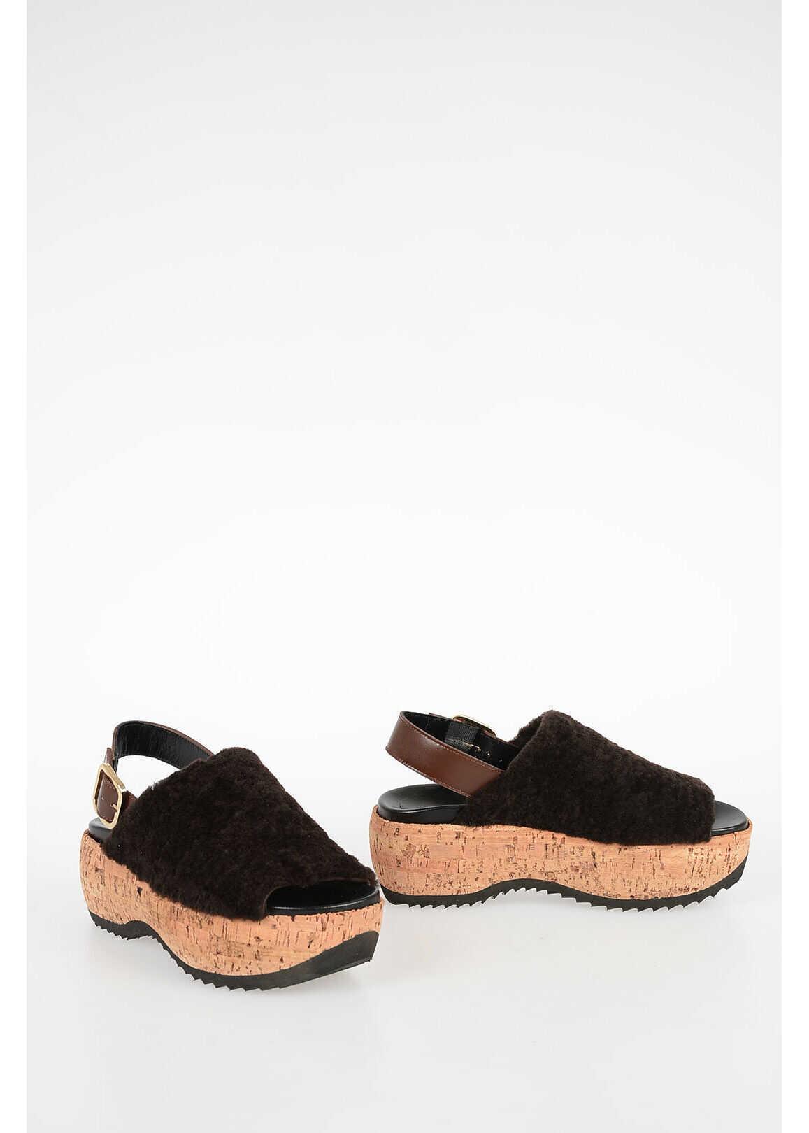 Marni 6,5cm Real Fur Sandals BLACK imagine b-mall.ro
