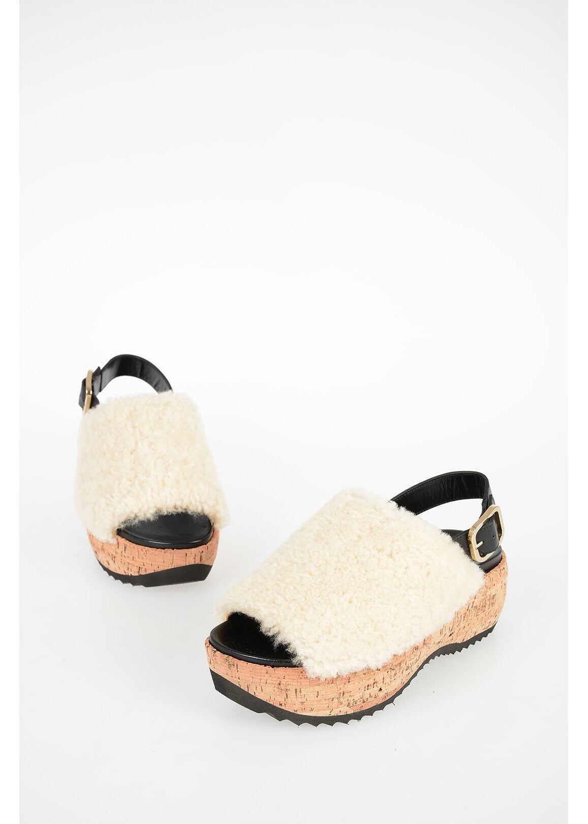 Marni 6cm Real Fur Sandals WHITE imagine b-mall.ro