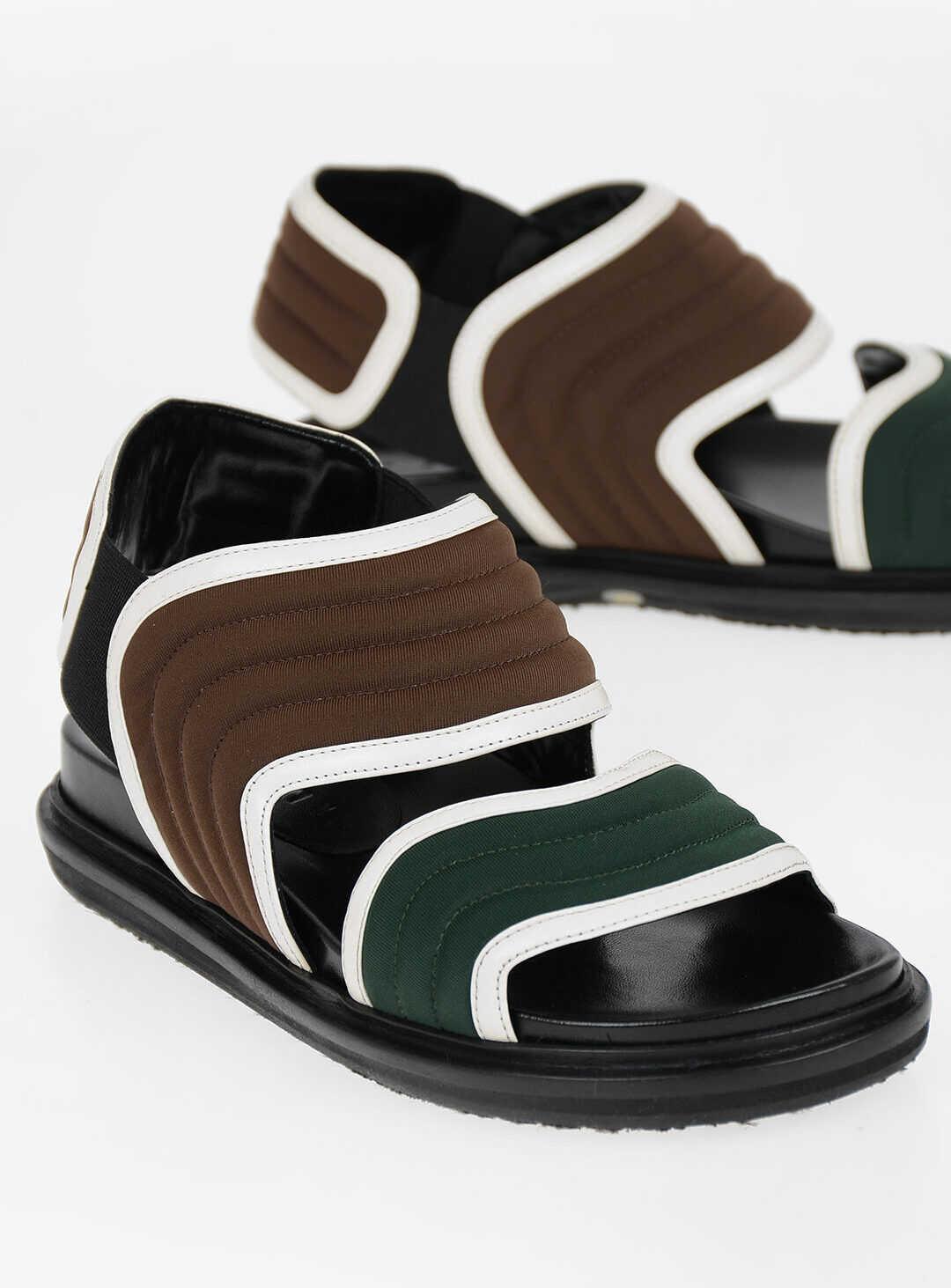 Marni Stretchy Fabric Sandals BROWN imagine b-mall.ro