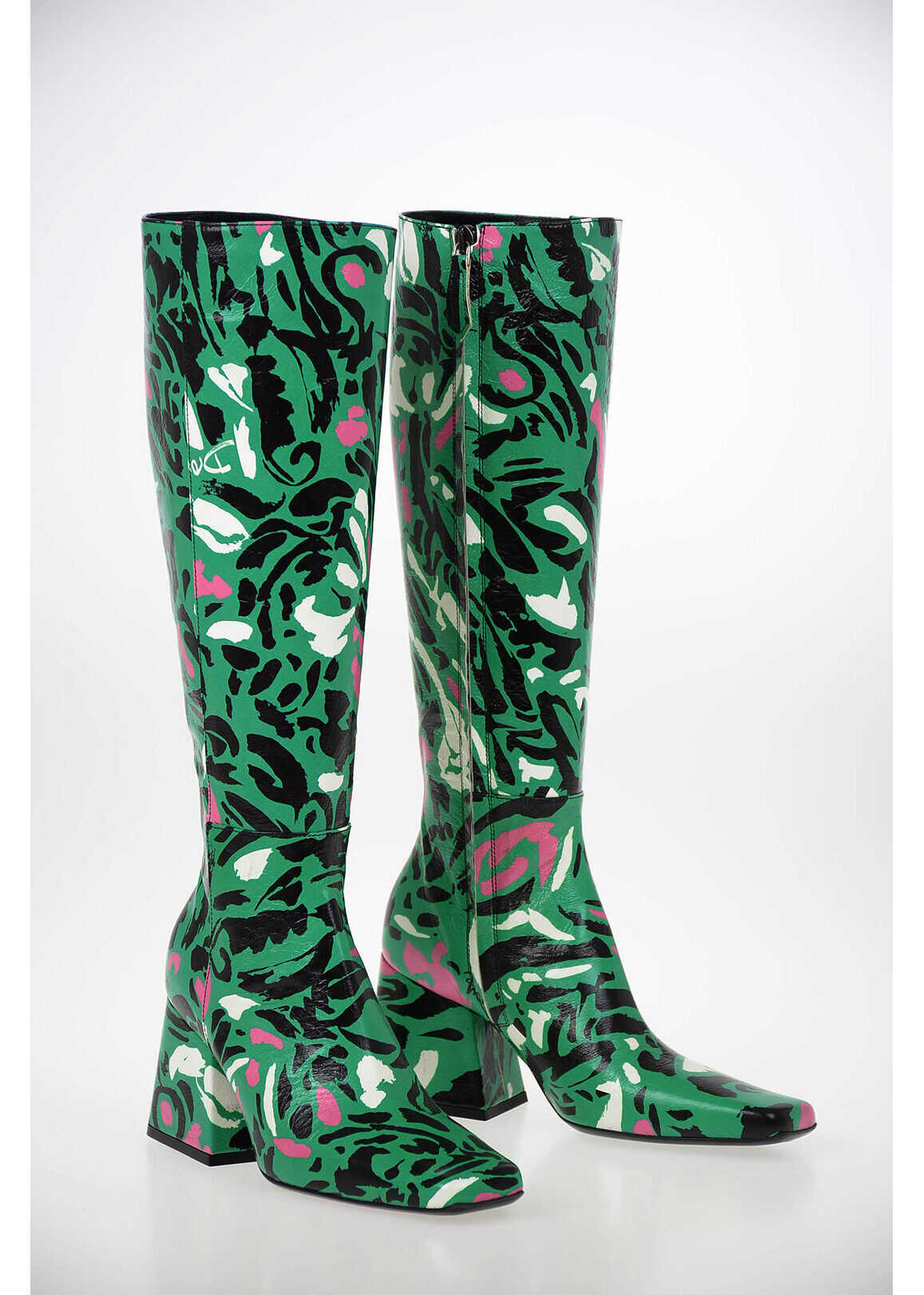 DROME Printed Leather Boots with Square Toe 8cm MULTICOLOR imagine b-mall.ro