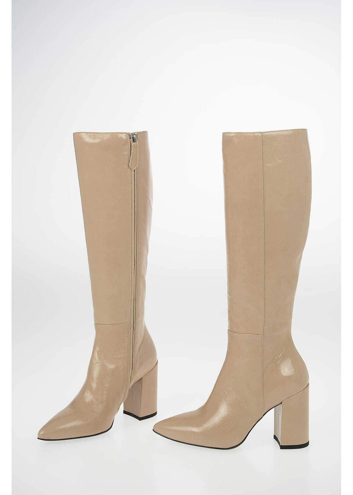 DROME Leather Boots 10cm BEIGE imagine b-mall.ro