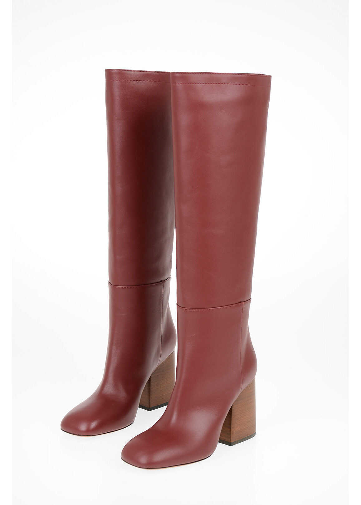 Marni 9cm leather Knee boots RED imagine b-mall.ro
